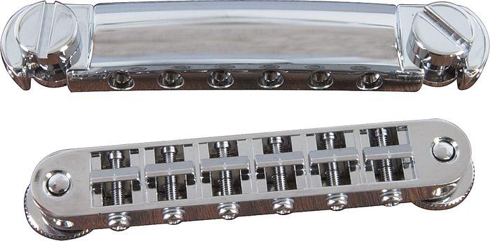 TonePros Standard Locking Tune-o-matic/Tailpiece Set (small posts/notched saddles) Nickel