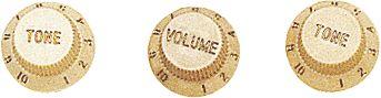 Fender Strat Knobs 1 Volume/2 Tone Aged White