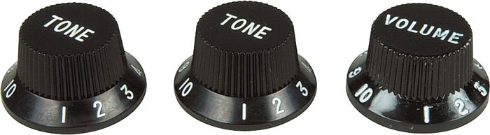 Fender Strat Knobs 1 Volume/2 Tone Black