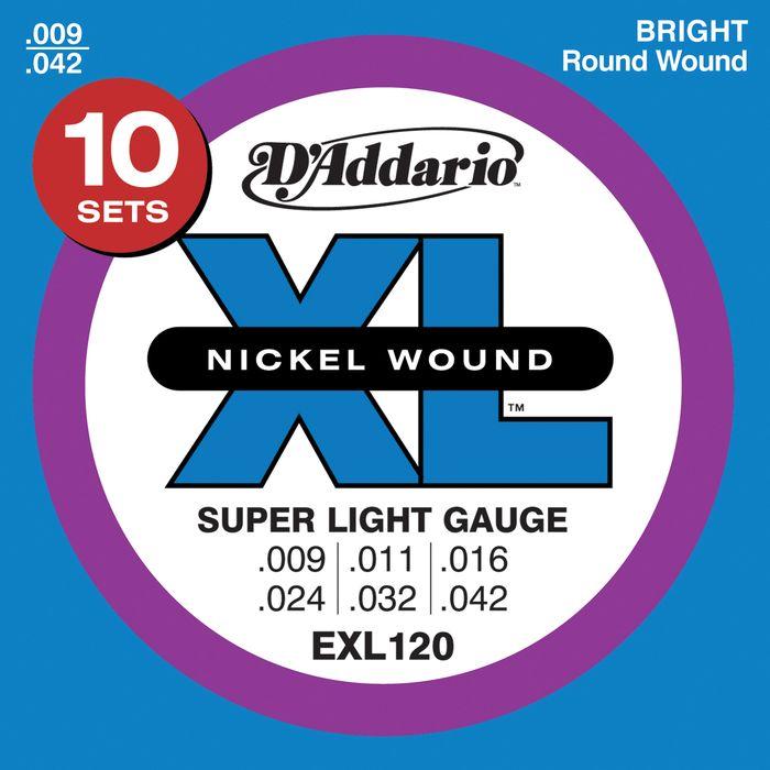 D'Addario EXL120 Nickel Super Light Electric Guitar Strings 10-Pack