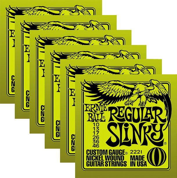 Ernie Ball 2221 Nickel Regular Slinky Electric Guitar Strings 6 Pack